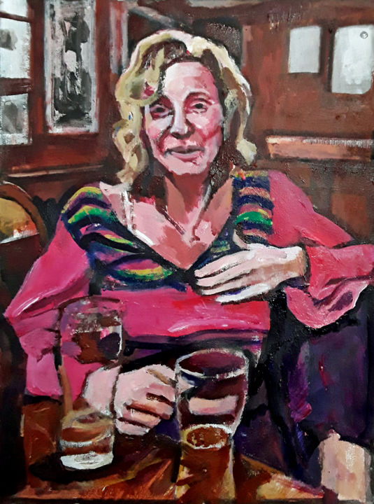 Fou rire - Painting,  18.1x13 in, ©2019 by Barrie Walker -                                                                                                                                                                                                                                                                                                                                                              Expressionism, expressionism-591, Portraits, ambiance café, ambiance rires, portrait de femme, café parisien