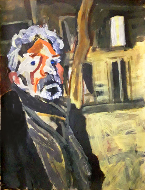 Paranoïa dans le Marais - Painting,  22.1x16.5 in ©2019 by Barrie Walker -                                            Expressionism, People, ambiance nuit, ambiance polar, portrait homme