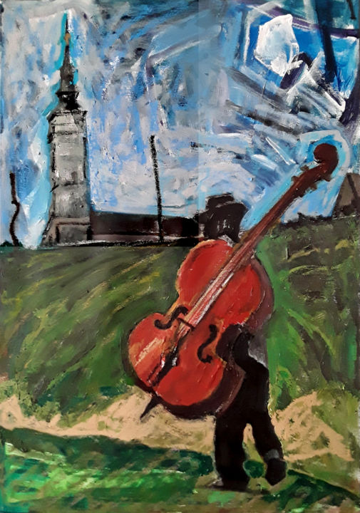 Shlepping - Painting,  28.7x19.7 in, ©2019 by Barrie Walker -                                                                                                                                                                                                                                                                      Expressionism, expressionism-591, Music, Instrument de musique, Judaïsme