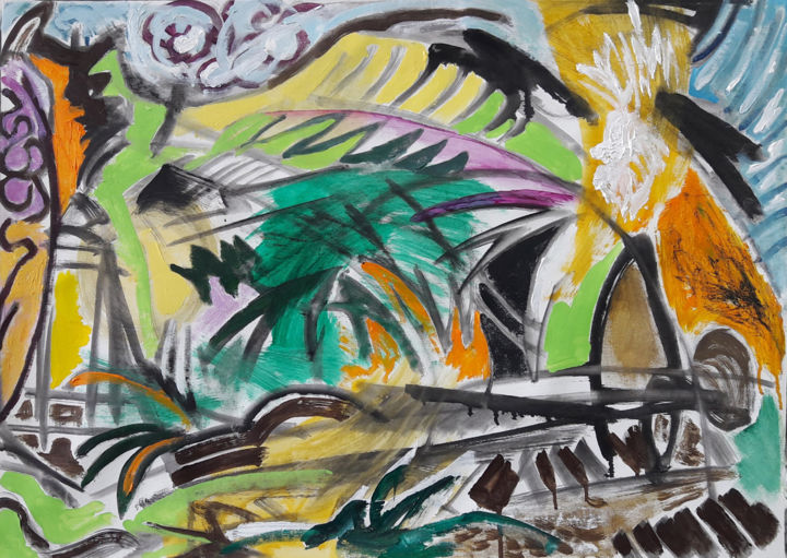 Jardin improvisé II - Painting,  25.6x36.2 in, ©2019 by Barrie Walker -                                                                                                                                                                                                                                                                      Abstract, abstract-570, Landscape, Paysage abstrait, expressionnisme