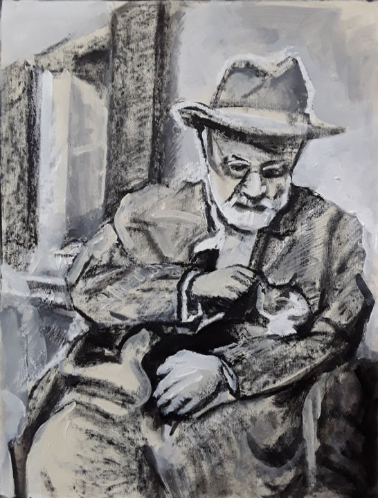 Matisse et son chat - Painting,  24x18.1 in, ©2012 by Barrie Walker -                                                                                                                                                                                                                                                                                                                  Figurative, figurative-594, Portraits, portrait d'artiste, chat, homme et chat