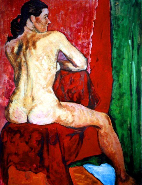 Nude from Back - Painting,  65x54 cm ©2003 by Barrie Walker -