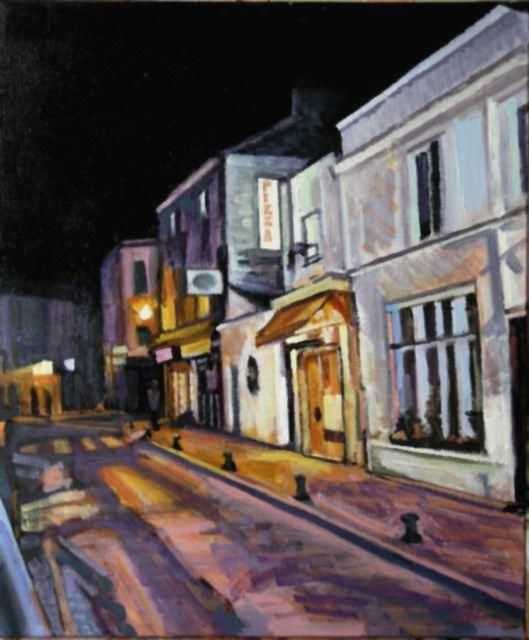 le Soir - Painting,  21.7x18.1 in, ©2004 by Barrie Walker -                                                                                                                                                                                                                                                                                                              Abstract, abstract-570, paysage urbain parisien atypique, nocturne, Butte aux Cailles, expressionniste