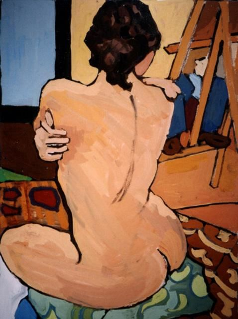 Nude with Easel - Painting,  25.6x21.3x0.4 in, ©2004 by Barrie Walker -