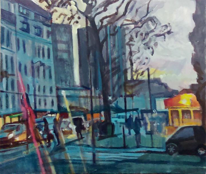 Boulevard Diderot novembre fin de journée - Painting,  60x73 cm ©2014 by Barrie Walker -                                                            Expressionism, Canvas, Cities, Paris, paysage urbain atypique, acrylique