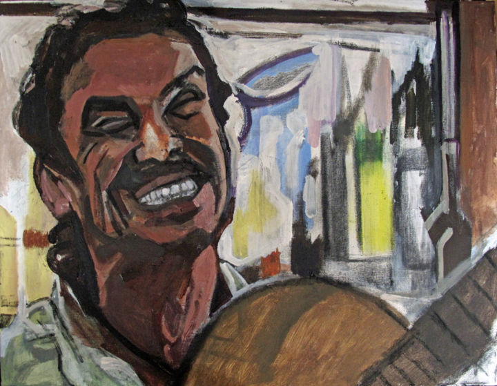 Me llaman calle - Painting,  50x65 cm ©2015 by Barrie Walker -                                                            Expressionism, Canvas, People, musicien, manu chao, acrylque, portrait, expressionniste