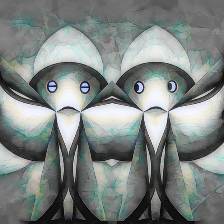 new friends - Painting ©2019 by CurvilinearArt -