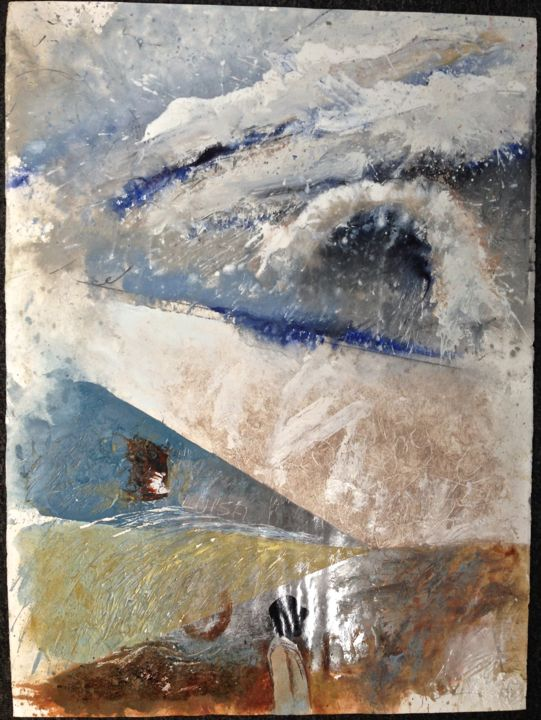 Yuisa Ecuador photocollage - Painting,  76x56 cm ©1988 by Baruj Salinas -                                                                                Abstract Expressionism, Abstract Art, Architecture, Culture, Landscape, latin art, latin masters, cuban art, cuban masters, collage, photography, salinas