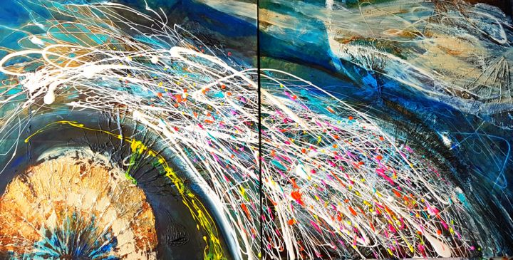 """Painting titled """"MY new WAY - diptyc…"""" by Basia Kilian, Original Art, Acrylic Mounted on Stretcher frame"""