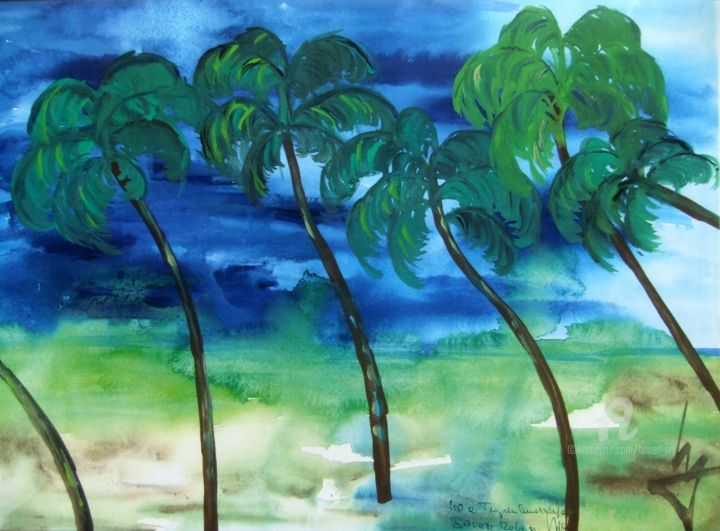 040a Tropenlandschaft.jpg - Painting,  30x42x0 cm ©2017 by Robert Bauer -                                                            Contemporary painting, Paper, Nature, Joy, nature, relaxation, pure, Freude, Entspannung, Glückseligkeit, happiness