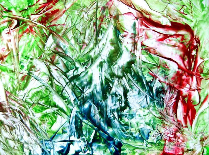 220e Verwerfungen2.jpg - Painting,  30x42x0 cm ©2017 by Robert Bauer -                                                                                                Contemporary painting, Paper, Abstract Art, Spirituality, People, Colors, faults, Verwerfungen, ups and downs, successful, auf und ab, erfolgreich, wrong path, Abwege, blind ends, Sackgasse, Fehler, mistake