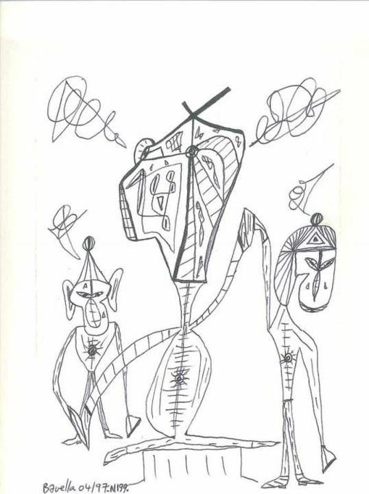 Picasso et ses frères ? - Drawing ©1997 by Laurent Bavella -