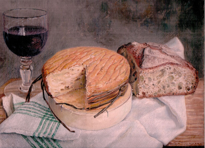 colonel.jpg - Painting,  9.5x13 in, ©2014 by Alain Bazard -                                                                                                                                                                                                                          Figurative, figurative-594, Food & Drink, Alain- bazard- fromage