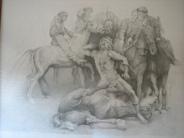 etude-pour-gandhara.jpg - Drawing,  35.4x43.3 in, ©2015 by Alain Bazard -                                                                                                                                                                          Classicism, classicism-933, Horses
