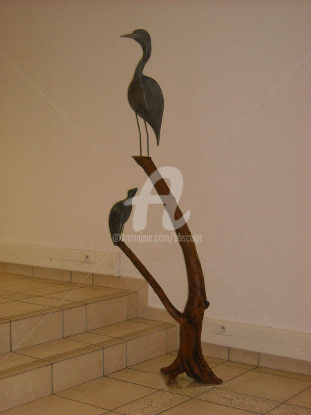 Tapon - Sculpture,  74.8x19.7x20.9 in, ©2009 by Bernard Baltassat -                                                                                                                                                                                                                                                                                              Humor, oiseau, sculpture, chanson, héron, humour