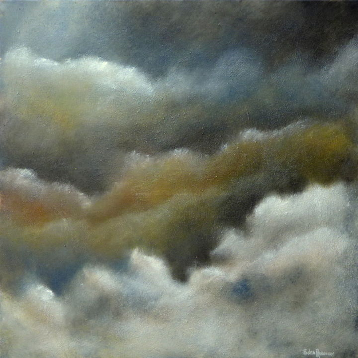 Nuages 2 - Painting,  31.5x31.5x0.8 in, ©2017 by Bernard des Roseaux -                                                                                                                                                                                                                                                                                                                                                                                                          Figurative, figurative-594, Sand, Aerial, Colors, Fantasy, Light, Nature