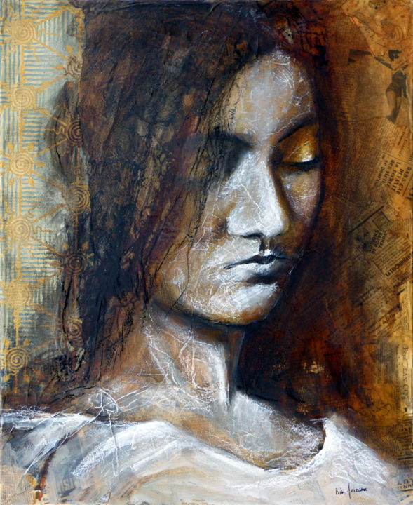 Eveleen - Mixed Media,  61x50x2 cm ©2019 by Bernard des Roseaux -                                                                                                                                                Figurative Art, Expressionism, Contemporary painting, Portraiture, Paper, Canvas, Women, Light, People, Portraits, art, peinture, techniques mixtes, pastel sec, encre à dessiner, Encre de Chine, acrylique, portrait, attitude, années 1930, suranné, papier journal, brou de noix, Terre de Sienne brûlée, Bistre, blanc, noir, visage, yeux clos