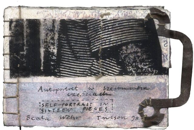 Book 31, Self-portait in 16 pieces - Collages,  1.6x2.4x0.4 in, ©1998 by Beata Wehr -