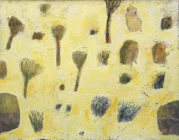 06 12 Desert collection - light yellow - Painting,  22x28x0.4 in, ©2006 by Beata Wehr -