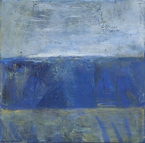 08 47 Blue landscape - Painting,  12x12x0.4 in, ©2008 by Beata Wehr -