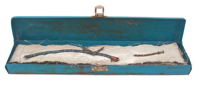 Book 89, Blue toolbox stories - Collages,  3x15x0.4 in, ©2008 by Beata Wehr -