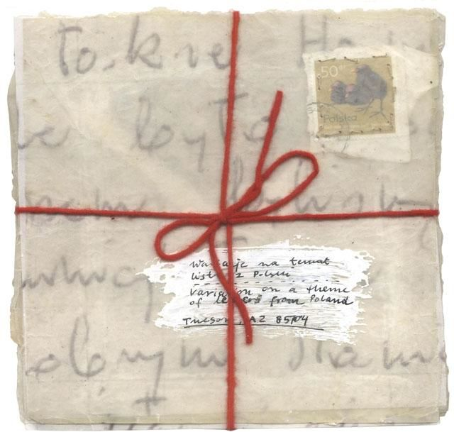 Book 24, Variation on a theme of letters from Poland - Collages,  3.2x3.2x0.4 in, ©1998 by Beata Wehr -