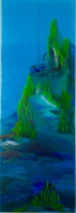 LE LAC IMAGINAIRE - Painting,  35.4x11.8 in, ©2015 by Béatrice Marty -                                                                                                                                                                                                                                                                          Abstract, abstract-570, Plastic, Nature, lac nature eau bleu