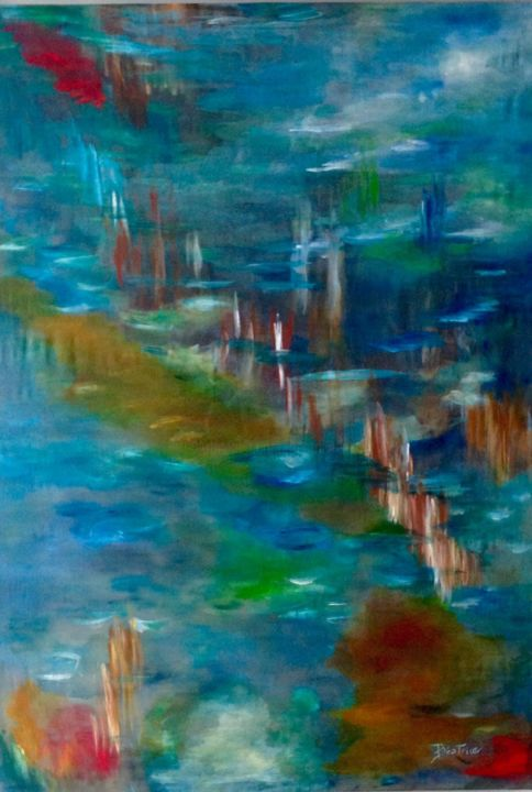 NOSTALGIE - Painting,  33.5x23.6 in, ©2015 by Béatrice Marty -                                                                                                                                                                                                                                                                                              Water, Nature, lac nature, eau, paysage abstrait, soie