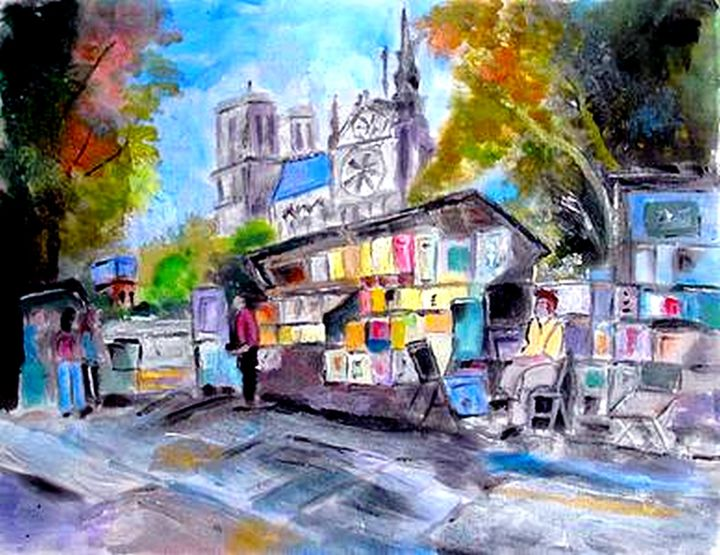 LES BOUQUINISTES - Painting,  11.8x23.6 in, ©2015 by Béatrice Marty -                                                                                                                                                                                                                                                                      Figurative, figurative-594, Architecture, Places, ville architecture paysage urbain