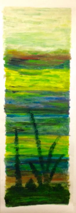 Trityque 3 - Painting,  43.3x15.8 in, ©2016 by Béatrice Marty -                                                                                                                                                                          Abstract, abstract-570, Nature