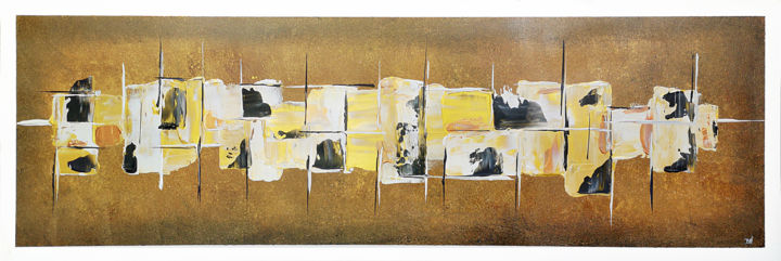 Graphic Gold - Painting,  15.8x47.2x0.6 in, ©2019 by Twiggy -                                                                                                                                                                                                                                                                                                                                                                                                                                                      Outsider Art, outsider-art-1044, Colors, Geometric, Patterns, Pinceaux, Couteaux, Gold, Or