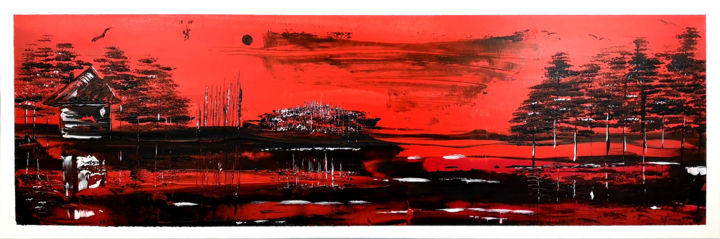 Red Night - Painting,  15.8x47.2x0.6 in, ©2019 by Twiggy -                                                                                                                                                                                                                                                                                                                                                                                                                                                                                                                                              Outsider Art, outsider-art-1044, Tree, Fantasy, Rural life, Nature, Landscape, Couteaux, Pinceaux, Rouge, Noire