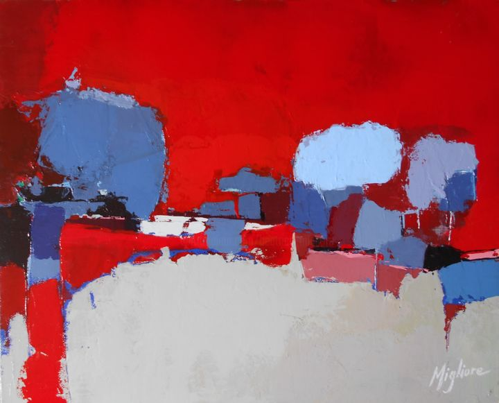 Aube rouge - Painting,  13x16.1 in, ©2017 by Migliore -                                                                                                                                                                                                                                                                                                                                                                                                          Abstract, abstract-570, Landscape, Aube, Rouge, Paysage, Abstrait, Arbre