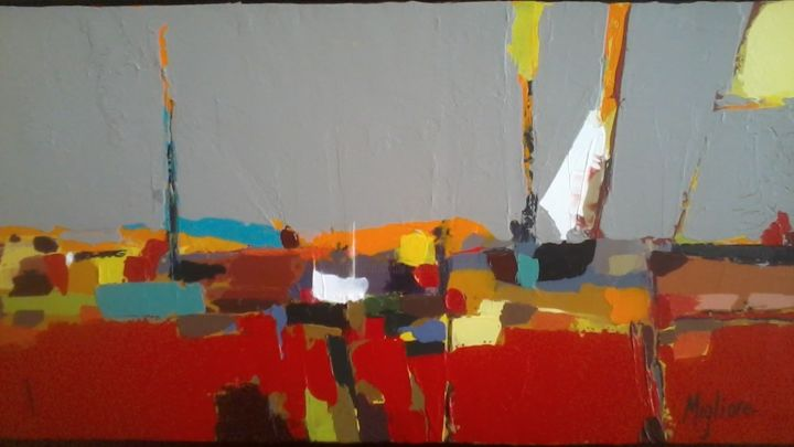 Le port - Painting,  60x30 cm ©2015 by Migliore -