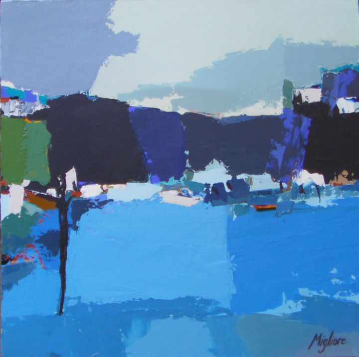 Vue sur la mer - Painting,  19.7x19.7 in, ©2015 by Migliore -
