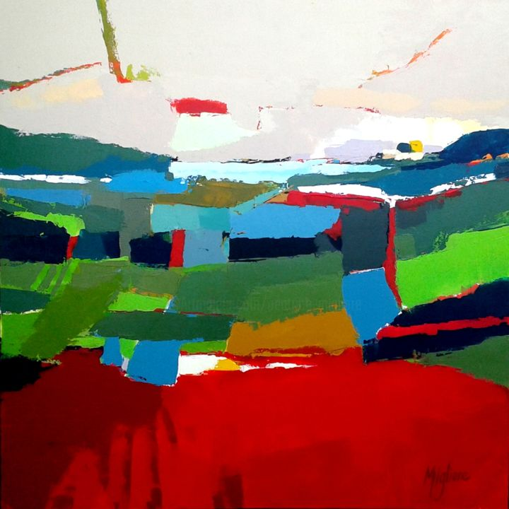 Imagine - Painting,  31.5x31.5 in, ©2015 by Migliore -