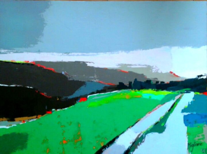Désir d'ailleurs - Painting,  21.3x28.7 in, ©2015 by Migliore -