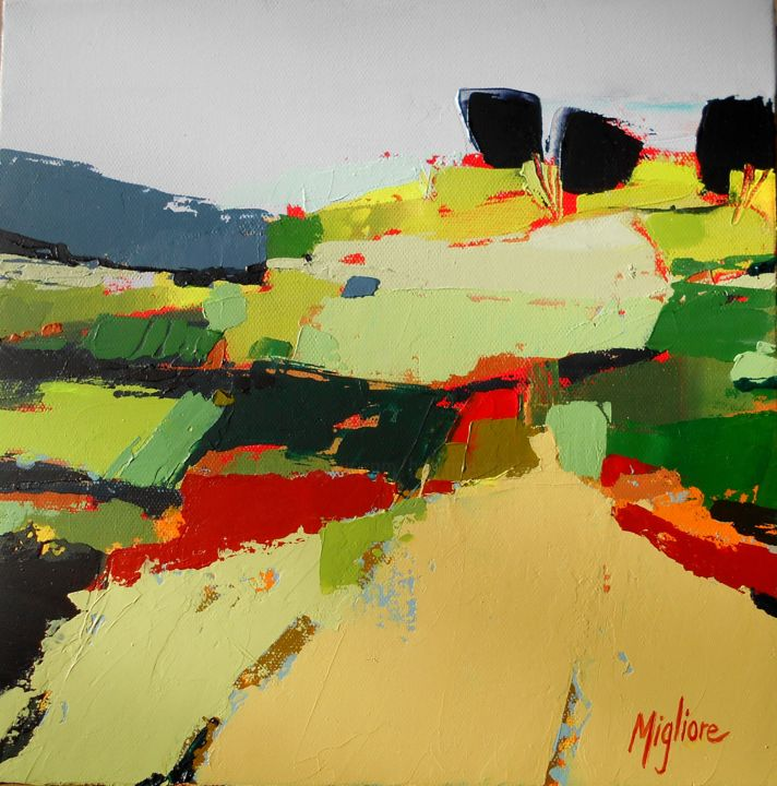 Paysage - Painting,  11.8x11.8 in, ©2016 by Migliore -