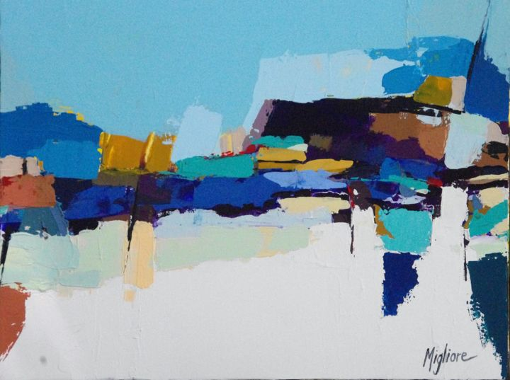 Reflet calme - Painting,  10.6x13.8 in, ©2016 by Migliore -                                                              Landscape