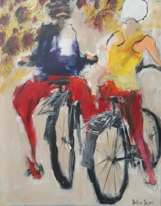 DUO A BICYCLETTE - Painting,  39.4x31.5x1.2 in, ©2019 by Beatrice Bossard -