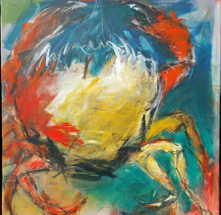 LE CRABE - Painting,  31.5x31.5x0.4 in, ©2019 by Beatrice Bossard -
