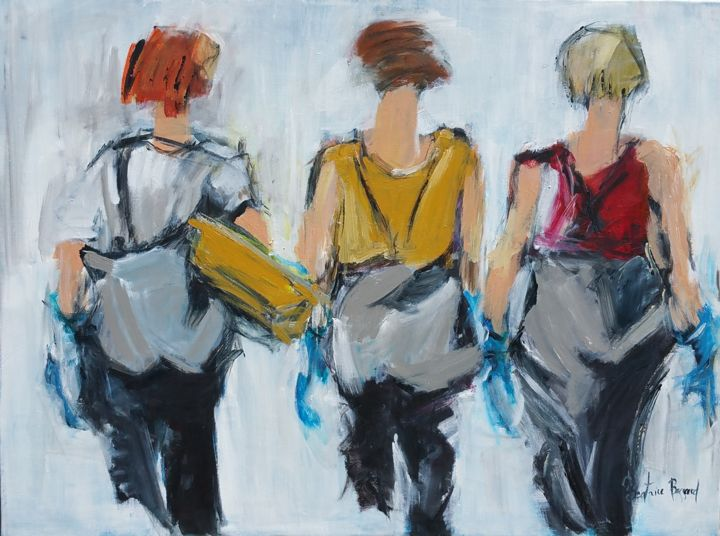 Gants bleus - Painting,  29.9x40.2x0.8 in, ©2017 by Beatrice Bossard -