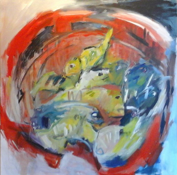 Manne du pêcheur - Painting,  31.5x31.5x0.8 in, ©2017 by Beatrice Bossard -