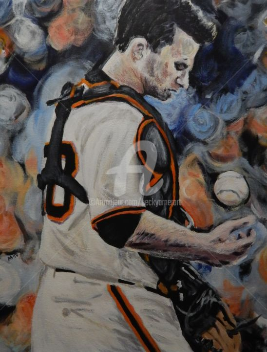 Buster Posey - Painting,  20x16 in ©2017 by Becky Arner -                                                                                                                                                Photorealism, Portraiture, Realism, Canvas, Celebrity, Men, People, Pop Culture / celebrity, Portraits, Sports, San Francisco Giants, Buster Posey