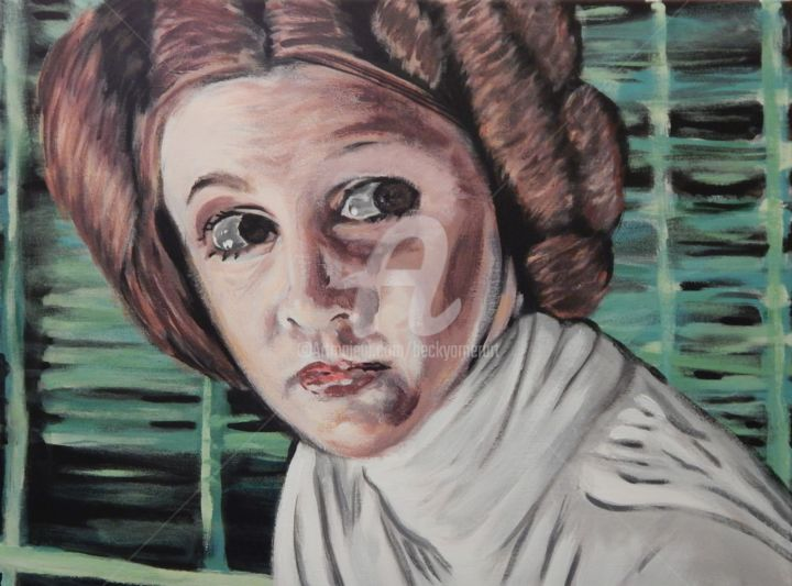 The Princess - Painting,  18x25 in ©2018 by Becky Arner -                                                                                                                                                Photorealism, Portraiture, Realism, Canvas, Celebrity, Fantasy, Outer Space, Pop Culture / celebrity, Science-fiction, Women, Star Wars, Princess Leia, Carrie Fisher, Original Trilogy