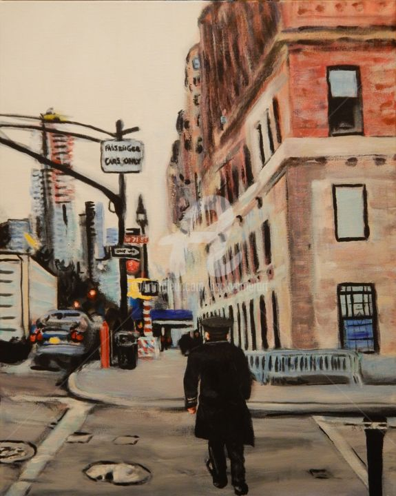 West 71st St. off the park - Painting,  20x16 in ©2018 by Becky Arner -                                                                                                                        Photorealism, Realism, Canvas, Car, Cities, Cityscape, People, Seasons, New York, NYC, New York City, Central Park