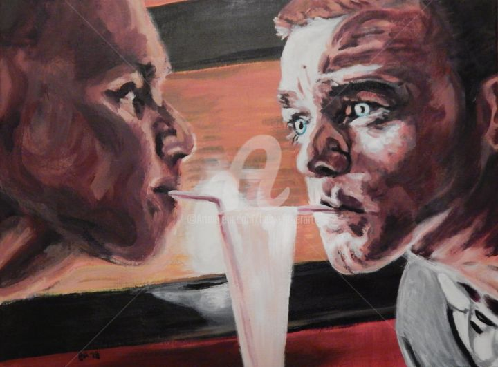 Trainspotting - Painting,  18x24 in ©2018 by Becky Arner -                                                                                                                                    Photorealism, Portraiture, Realism, Canvas, Celebrity, Men, Mortality, People, Portraits, Ewan McGregor, Ewen Bremner, Trainspotting