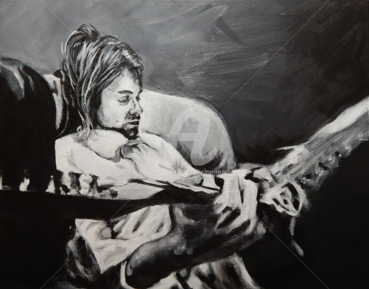 Kurt on a Couch - Painting,  16x20 in ©2018 by Becky Arner -                                                                                                                                    Photorealism, Portraiture, Realism, Canvas, Celebrity, People, Performing Arts, Pop Culture / celebrity, Portraits, Nirvana, Kurt Cobain