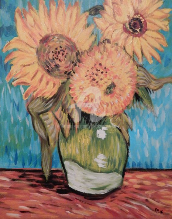 Van Gogh's Three Sunflowers in a Vase - Painting,  20x16 in, ©2018 by Becky Arner -                                                                                                                                                                                                                                                                                                                  Impressionism, impressionism-603, Flower, Van Gogh, Sunflower, Flowers