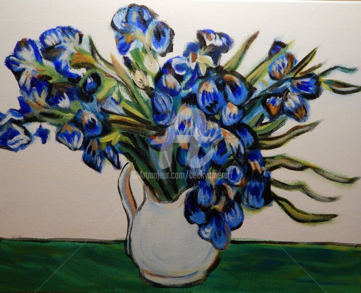 Van Gogh's Vase with Irises - Painting,  20x16 in ©2018 by Becky Arner -                                                                        Impressionism, Canvas, Colors, Flower, Vincent Van Gogh